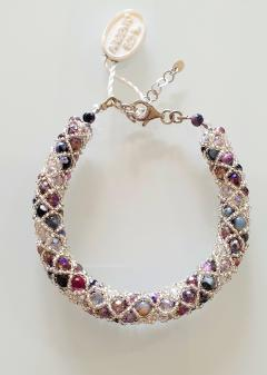 Paola B Murano glass beads hand made purple and silver bracelet by artist Paola B  - 980456