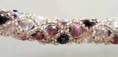 Paola B Murano glass beads hand made purple and silver bracelet by artist Paola B  - 980459