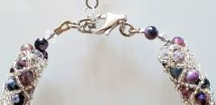 Paola B Murano glass beads hand made purple and silver bracelet by artist Paola B  - 980480