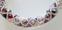 Paola B Murano glass beads hand made purple and silver bracelet by artist Paola B  - 980481