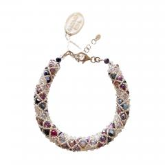 Paola B Murano glass beads hand made purple and silver bracelet by artist Paola B  - 982199