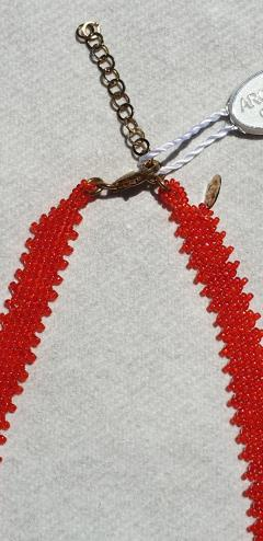 Paola B Murano glass beads hand made red coral neklace by Venetian artist Paola B  - 1088529