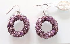 Paola B Pair of Purple Murano glass beads hand made earrings by artist Paola B  - 989081
