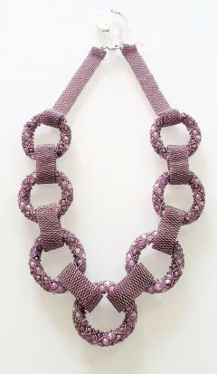 Paola B Purple and pink hues Murano glass beads necklace by Venetian artist Paola B  - 1076681