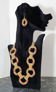 Paola B Unique Gold and red Murano glass beads hand made necklace by Paola B  - 982342