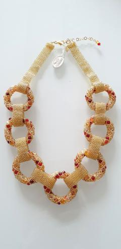 Paola B Unique Gold and red Murano glass beads hand made necklace by Paola B  - 982349
