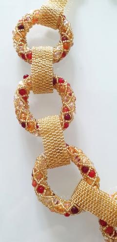 Paola B Unique Gold and red Murano glass beads hand made necklace by Paola B  - 982350