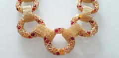 Paola B Unique Gold and red Murano glass beads hand made necklace by Paola B  - 982352
