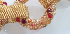 Paola B Unique Gold and red Murano glass beads hand made necklace by Paola B  - 982368