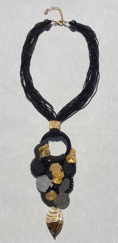 Paola B Unique Murano glass beads fabric costume necklace by Venetian artist Paola B  - 1088651