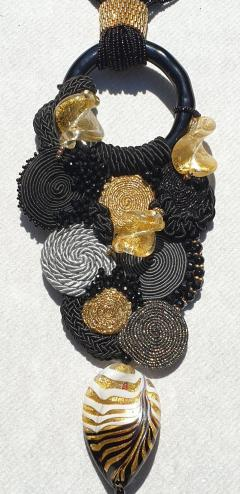 Paola B Unique Murano glass beads fabric costume necklace by Venetian artist Paola B  - 1088652