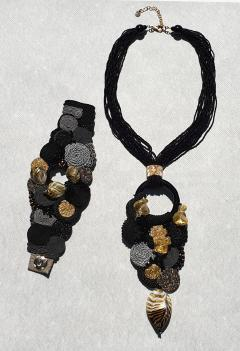 Paola B Unique Murano glass beads fabric costume necklace by Venetian artist Paola B  - 1088653