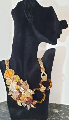 Paola B Unique Murano glass beads fabric costume necklace by artist Paola B  - 989106