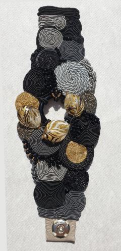 Paola B Unique Murano glass beads silk fashion bracelet by Venetian artist Paola B  - 1088674