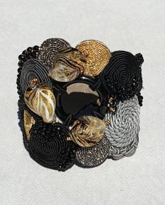 Paola B Unique Murano glass beads silk fashion bracelet by Venetian artist Paola B  - 1088676
