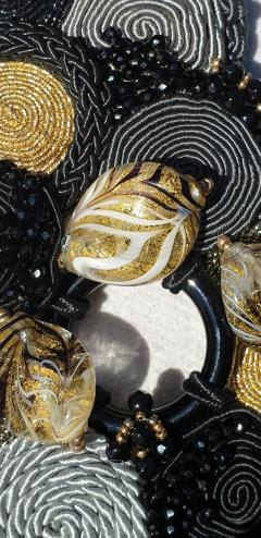 Paola B Unique Murano glass beads silk fashion bracelet by Venetian artist Paola B  - 1088679