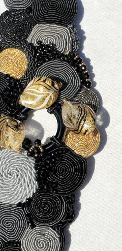 Paola B Unique Murano glass beads silk fashion bracelet by Venetian artist Paola B  - 1088680