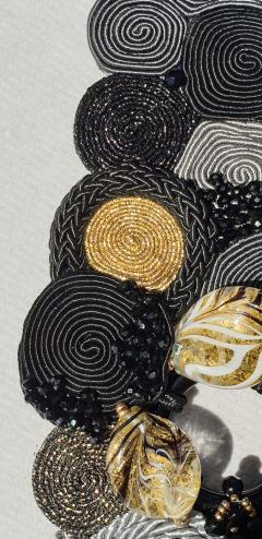 Paola B Unique Murano glass beads silk fashion bracelet by Venetian artist Paola B  - 1088681