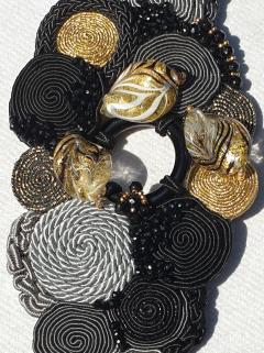 Paola B Unique Murano glass beads silk fashion bracelet by Venetian artist Paola B  - 1088682