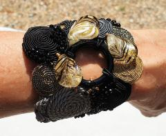Paola B Unique Murano glass beads silk fashion bracelet by Venetian artist Paola B  - 1088683