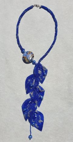 Paola B Unique blue Murano glass beads hand made fashion necklace by artist Paola B  - 1086634