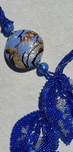 Paola B Unique blue Murano glass beads hand made fashion necklace by artist Paola B  - 1086635