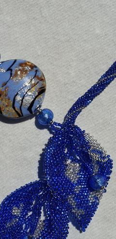 Paola B Unique blue Murano glass beads hand made fashion necklace by artist Paola B  - 1086639