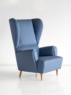 Paolo Buffa 1940s Paolo Buffa Wingback Chair Newly Upholstered in Rubelli Fabric - 444369