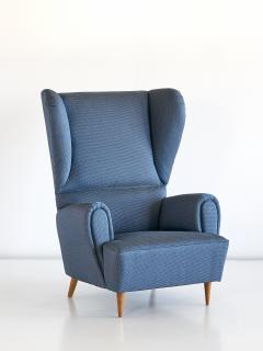 Paolo Buffa 1940s Paolo Buffa Wingback Chair Newly Upholstered in Rubelli Fabric - 444371