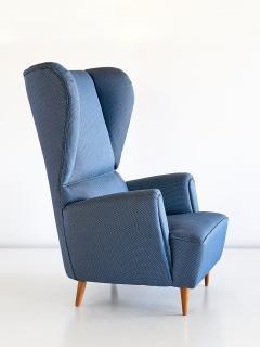Paolo Buffa 1940s Paolo Buffa Wingback Chair Newly Upholstered in Rubelli Fabric - 444375