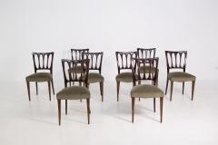 Paolo Buffa Eight Mid Century Velvet Chairs in the Style of Paolo Buffa in Walnut - 2089910