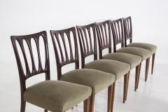 Paolo Buffa Eight Mid Century Velvet Chairs in the Style of Paolo Buffa in Walnut - 2089912