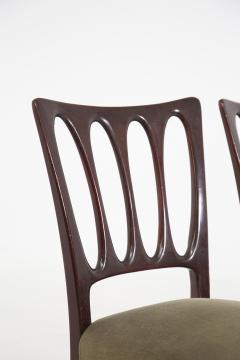 Paolo Buffa Eight Mid Century Velvet Chairs in the Style of Paolo Buffa in Walnut - 2089913