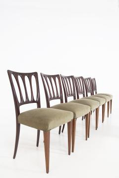 Paolo Buffa Eight Mid Century Velvet Chairs in the Style of Paolo Buffa in Walnut - 2089919