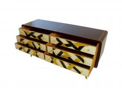Paolo Buffa Italian Modern Prototype Mahogany Brass Inlaid and Murano Glass Commode Buffet - 1071239