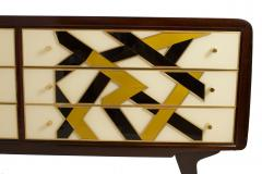 Paolo Buffa Italian Modern Prototype Mahogany Brass Inlaid and Murano Glass Commode Buffet - 1071250