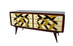 Paolo Buffa Italian Modern Prototype Mahogany Brass Inlaid and Murano Glass Commode Buffet - 1071335