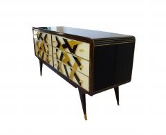 Paolo Buffa Italian Modern Prototype Mahogany Brass Inlaid and Murano Glass Commode Buffet - 1072326
