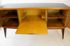 Paolo Buffa Italian Modern Prototype Mahogany Bronze and Murano Glass Sideboard Buffet - 1075499