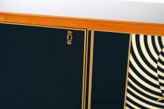 Paolo Buffa Italian Modern Prototype Mahogany Bronze and Murano Glass Sideboard Buffet - 1075513