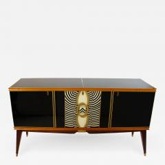 Paolo Buffa Italian Modern Prototype Mahogany Bronze and Murano Glass Sideboard Buffet - 1112266