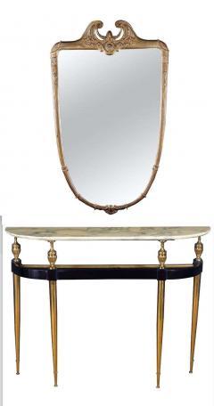 Paolo Buffa Italian Modernist Midcentury Oval Shaped Gilt Bronze Console Table - 1622659