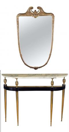 Paolo Buffa Italian Modernist Midcentury Oval Shaped Gilt Bronze Console Table - 1622661