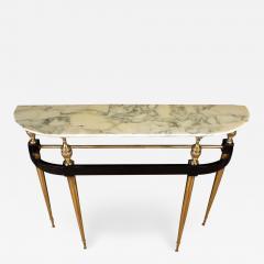 Paolo Buffa Italian Modernist Midcentury Oval Shaped Gilt Bronze Console Table - 1624849