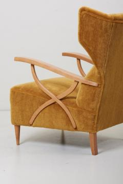 Paolo Buffa Newly Upholstered Pair of Lounge Chairs in Manner of Paolo Buffa Italy - 1156435