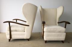 Paolo Buffa Pair Mid Century Modern Italian Polished Mahogany Wool Boucle Lounge Chairs - 962947