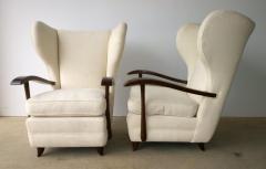 Paolo Buffa Pair Mid Century Modern Italian Polished Mahogany Wool Boucle Lounge Chairs - 962949