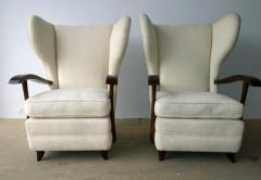 Paolo Buffa Pair Mid Century Modern Italian Polished Mahogany Wool Boucle Lounge Chairs - 962950