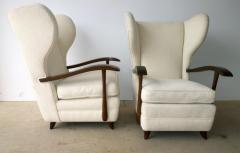 Paolo Buffa Pair Mid Century Modern Italian Polished Mahogany Wool Boucle Lounge Chairs - 962951