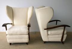 Paolo Buffa Pair Mid Century Modern Italian Polished Mahogany Wool Boucle Lounge Chairs - 962953